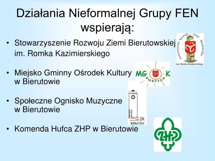 Działania Nieformalnej Grupy FEN wspierają: