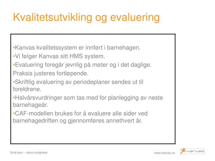 Kvalitetsutvikling og evaluering