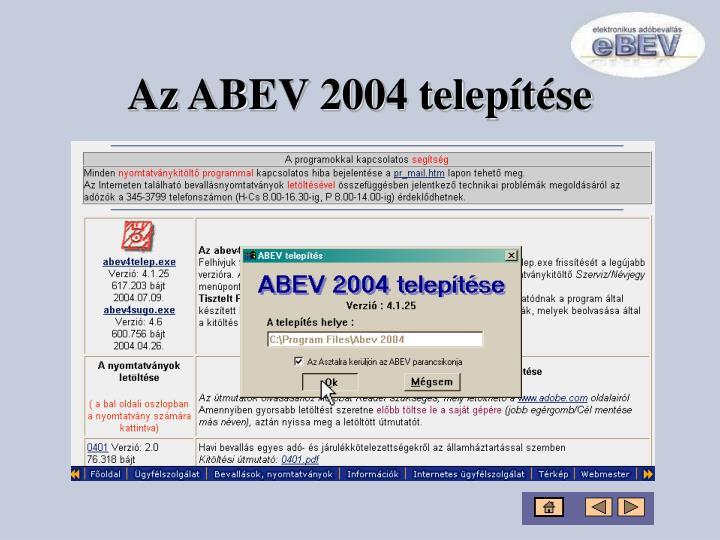 Az ABEV 2004 telepítése