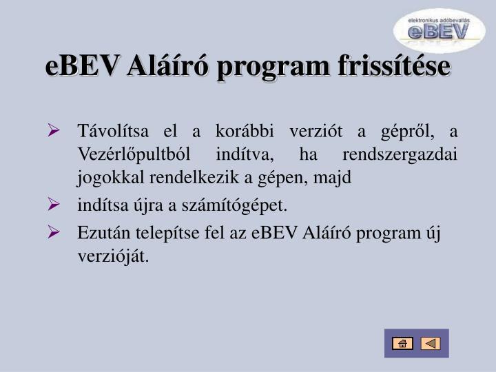 eBEV Aláíró program frissítése