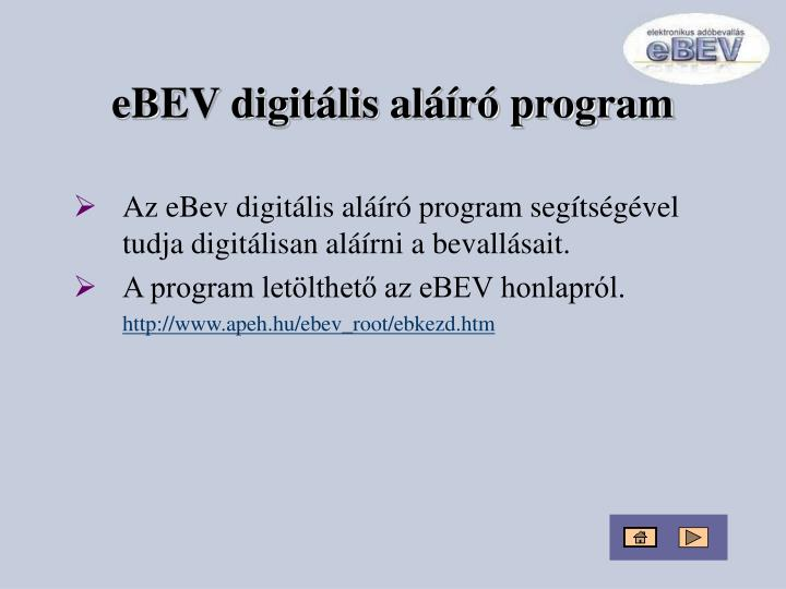 eBEV digitális aláíró program