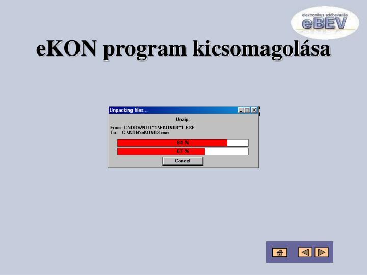 eKON program kicsomagolása