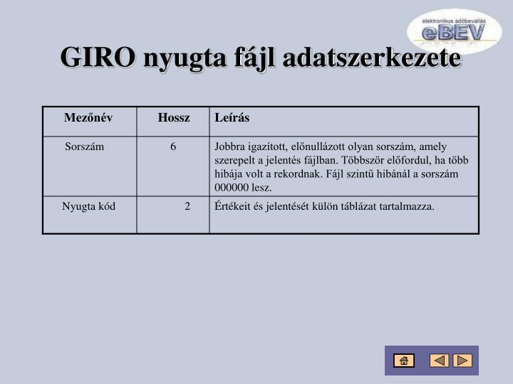 GIRO nyugta fájl adatszerkezete