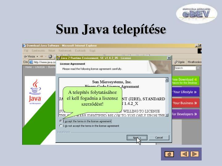 Sun Java telepítése