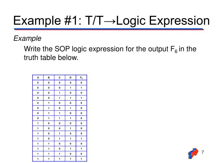 Example #1: T/T→Logic Expression