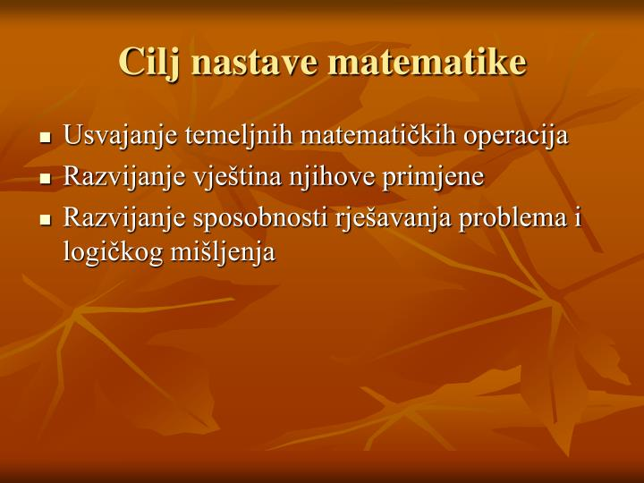 Cilj nastave matematike