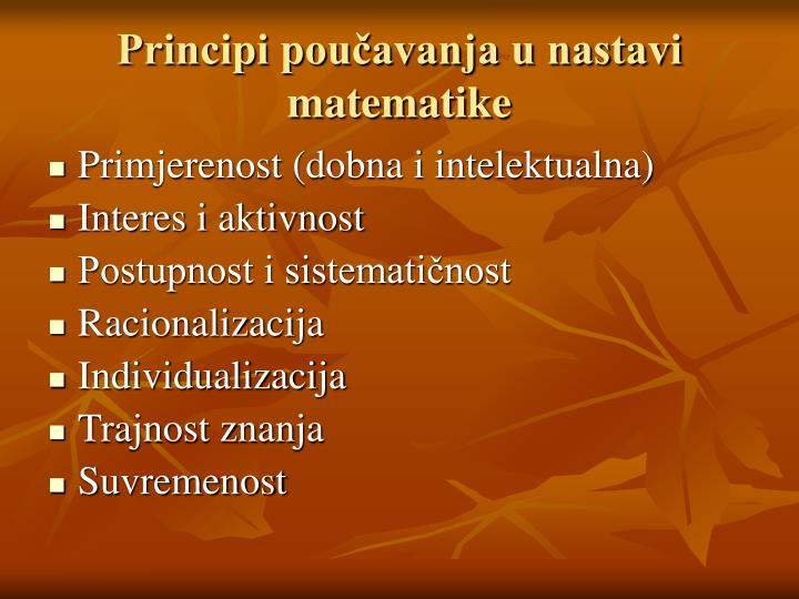 Principi poučavanja u nastavi matematike