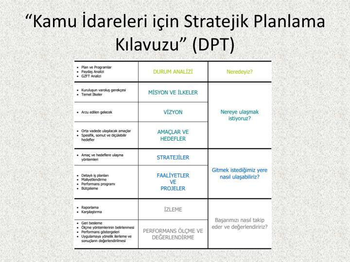 """""""Kamu İdareleri için Stratejik Planlama Kılavuzu"""" (DPT)"""
