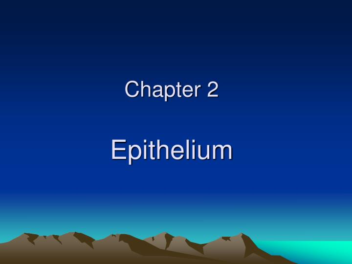 Chapter 2 epithelium