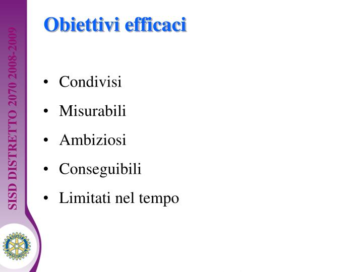Obiettivi efficaci