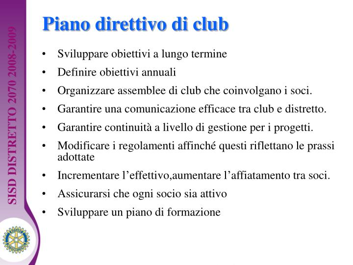 Piano direttivo di club