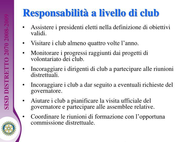 Responsabilità a livello di club