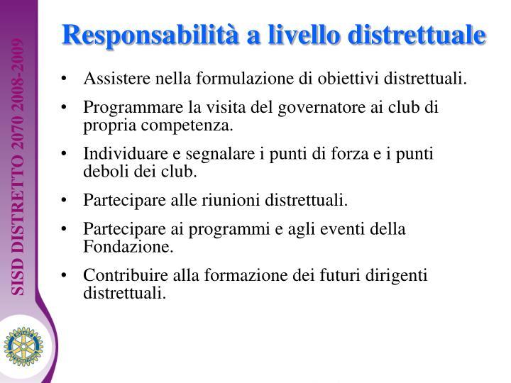 Responsabilità a livello distrettuale