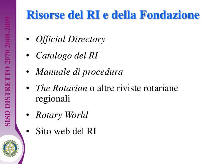 Risorse del RI e della Fondazione
