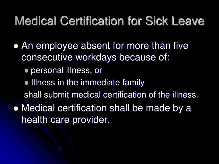 Medical Certification for Sick Leave