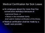 medical certification for sick leave