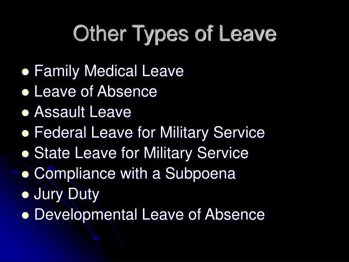 Other Types of Leave