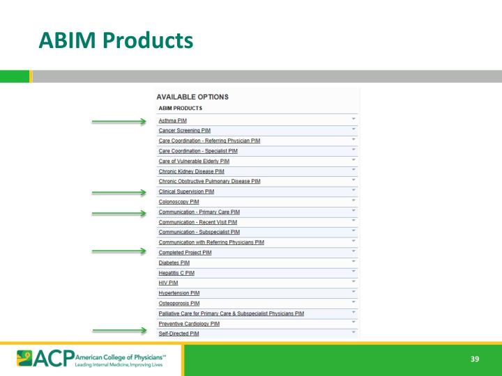 ABIM Products