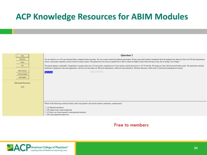 ACP Knowledge Resources for ABIM Modules