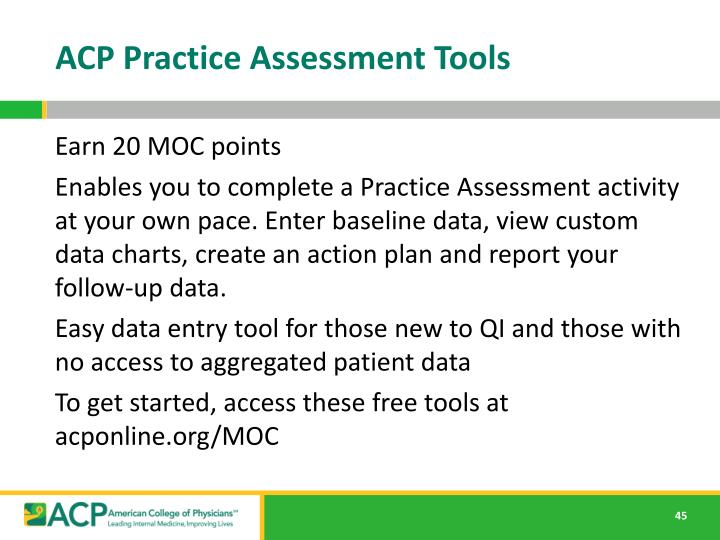 ACP Practice Assessment Tools