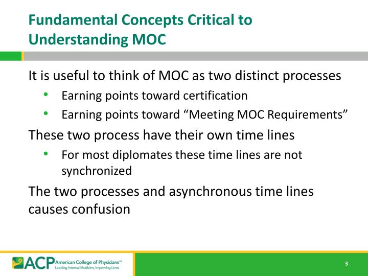 Fundamental concepts critical to understanding moc