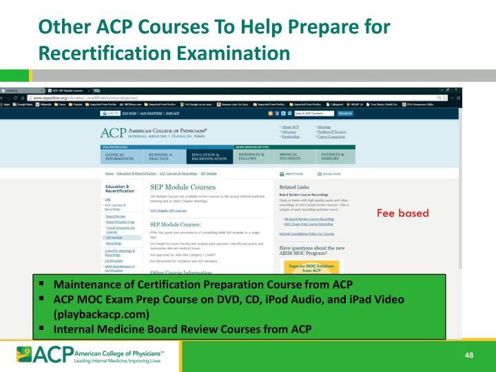Other ACP Courses To Help Prepare for Recertification Examination