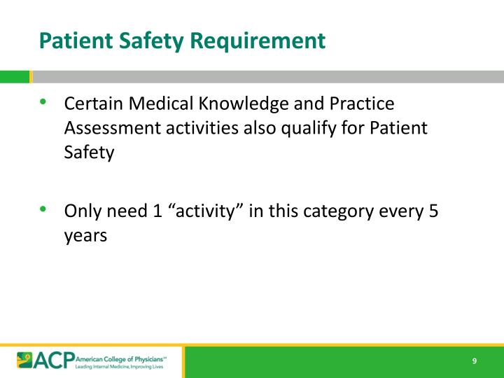 Patient Safety Requirement