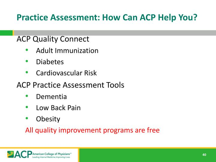 Practice Assessment: How Can ACP Help You?
