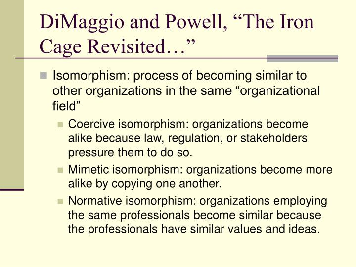 "DiMaggio and Powell, ""The Iron Cage Revisited…"""