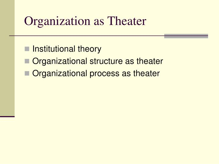 Organization as theater