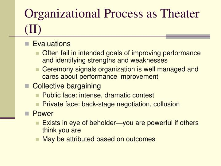 Organizational Process as Theater (II)