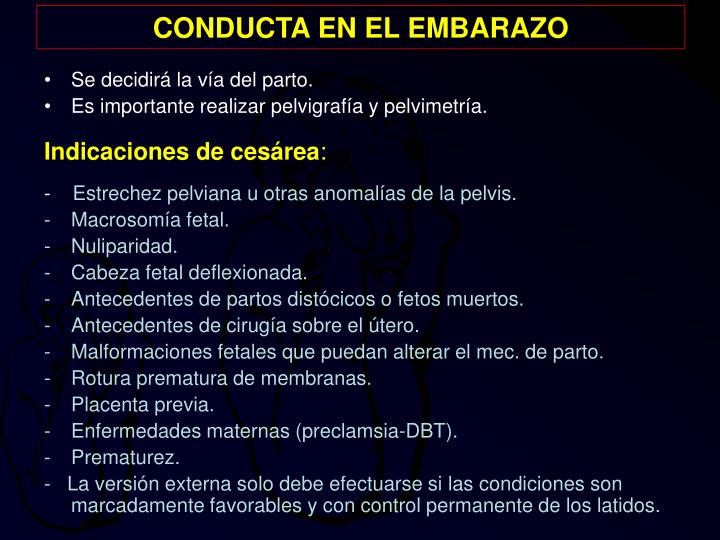 CONDUCTA EN EL EMBARAZO
