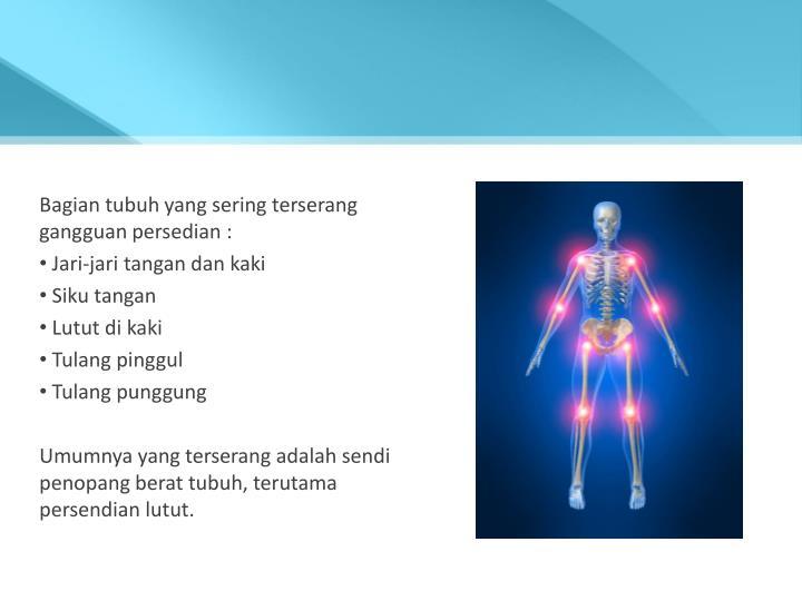 Bagian tubuh yang sering terserang gangguan persedian :