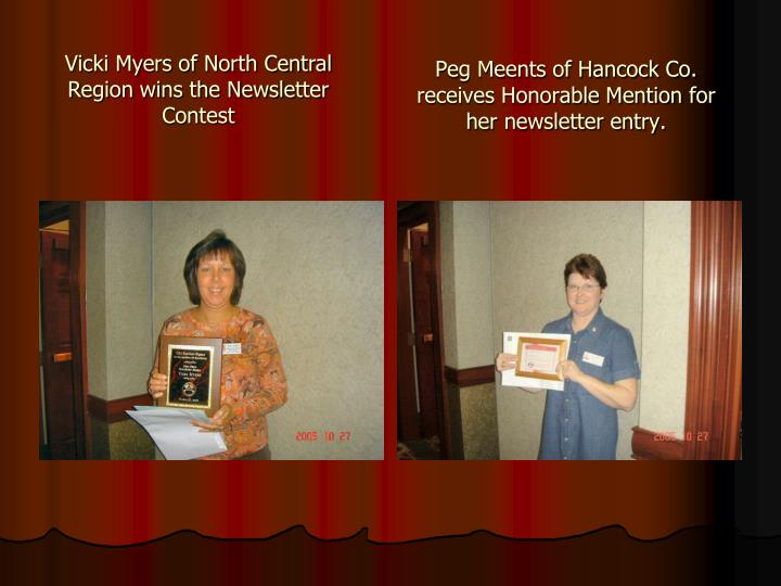 Peg Meents of Hancock Co. receives Honorable Mention for her newsletter entry.