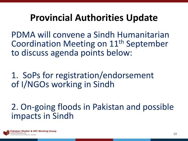 Provincial Authorities Update