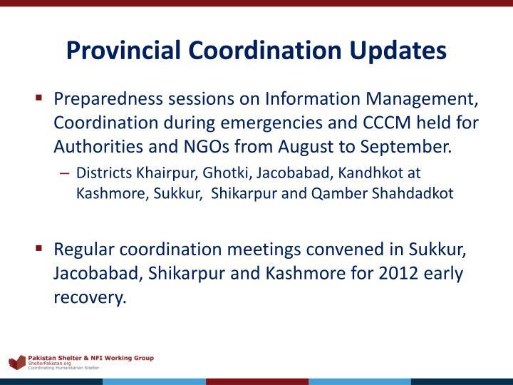 Provincial Coordination Updates
