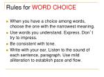 rules for word choice