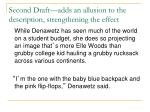 second draft adds an allusion to the description strengthening the effect