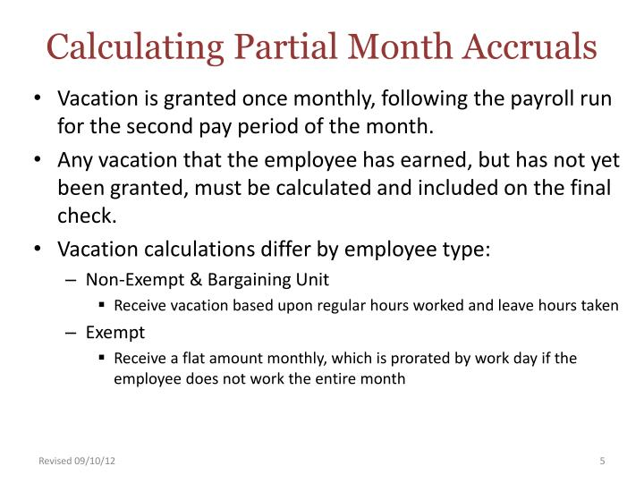 Calculating Partial Month Accruals