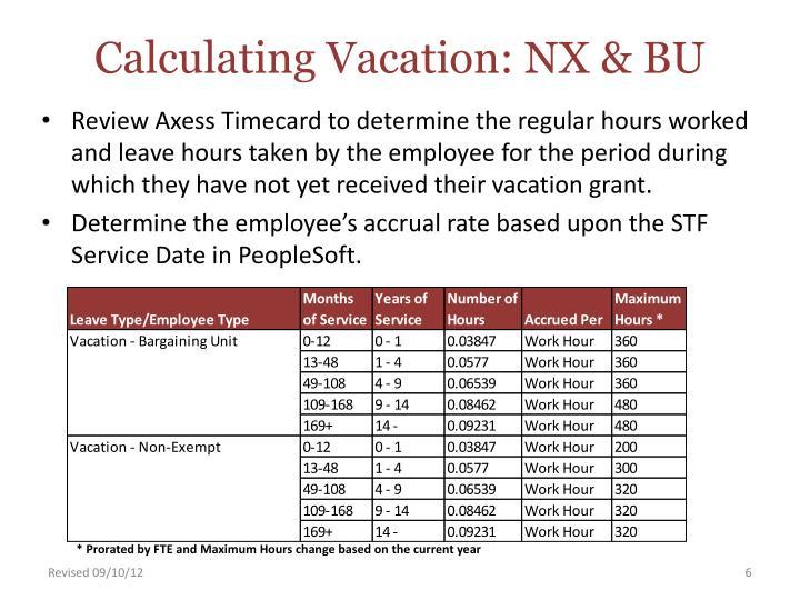 Calculating Vacation: NX & BU