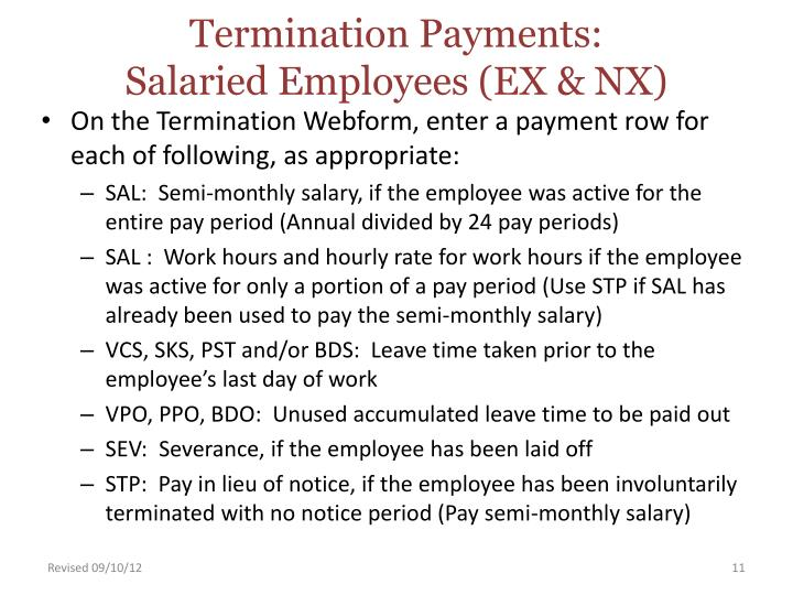Termination Payments: