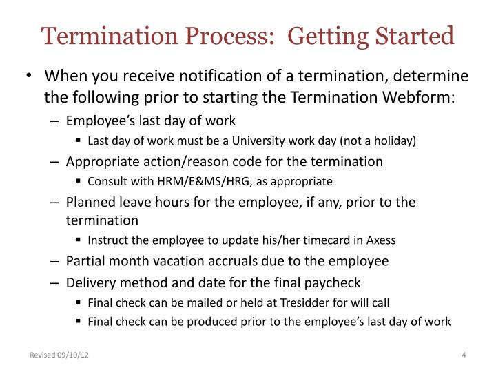 Termination Process:  Getting Started