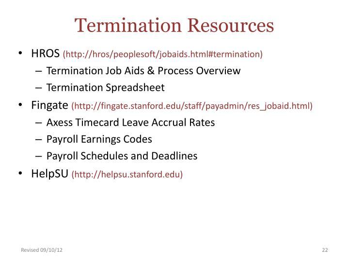 Termination Resources