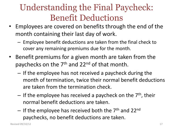 Understanding the Final Paycheck:  Benefit Deductions