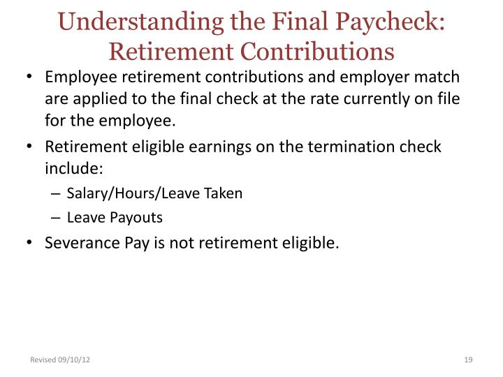 Understanding the Final Paycheck: Retirement Contributions