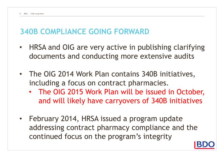340B compliance going forward