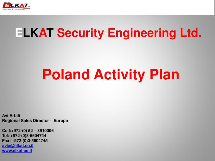 E lk a t security engineering ltd poland activity plan