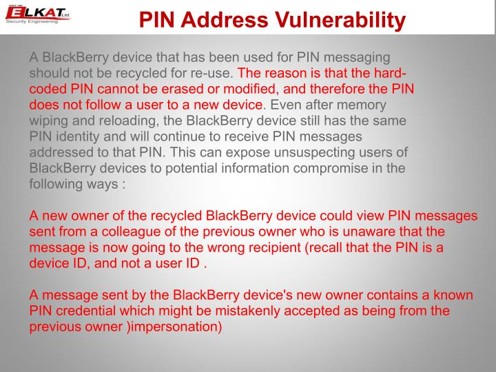 PIN Address Vulnerability