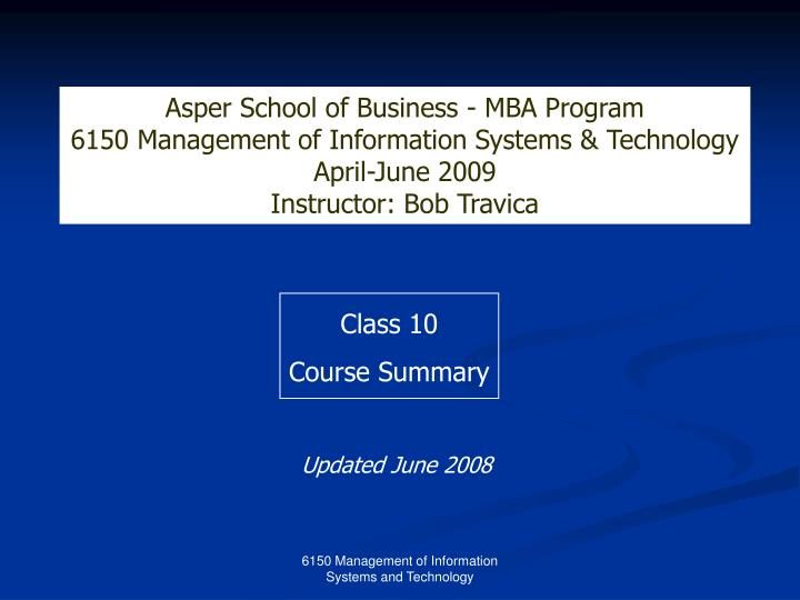 Asper School of Business - MBA Program