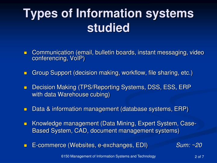 Types of information systems studied